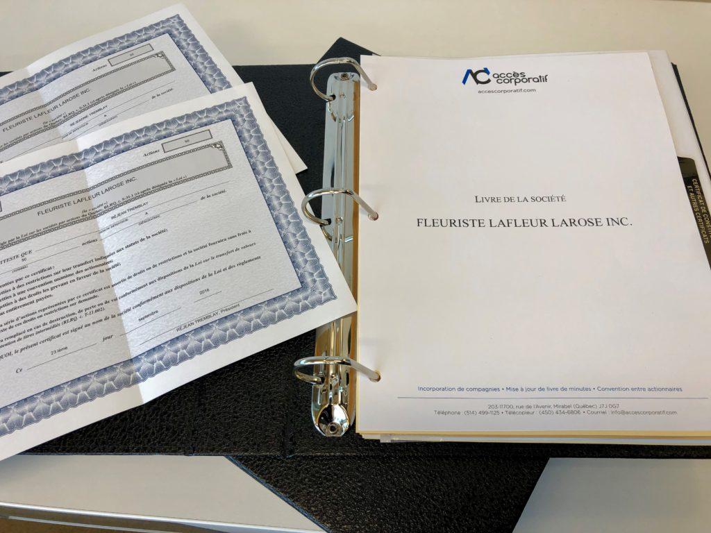 certificat d'actions